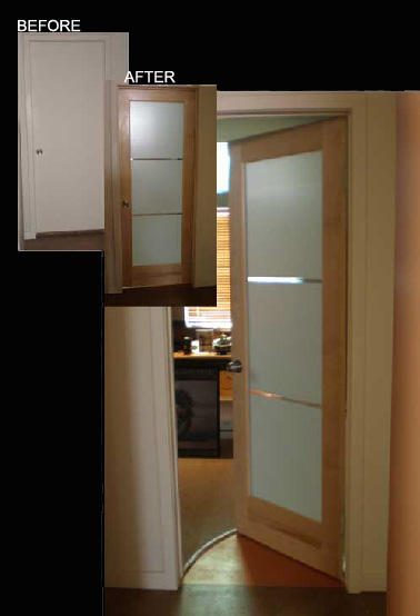 Modern Interior Glass Doors Frosted Glass V Grooved 3 Lite